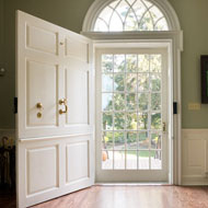 Image of the front door to Woodburn wide open