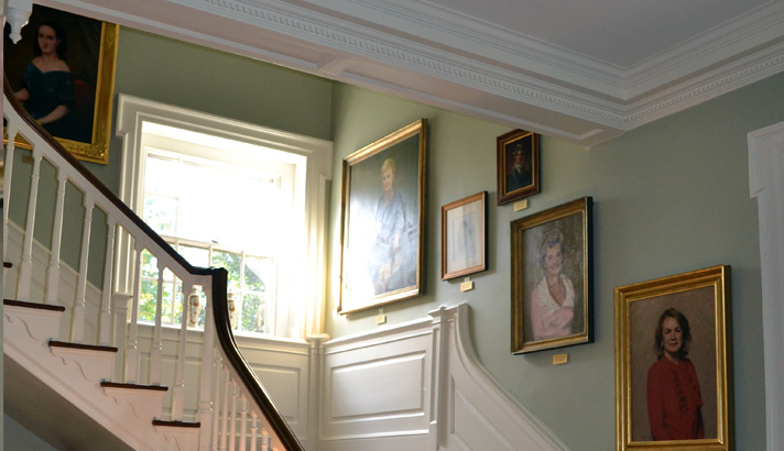 Picture of the Woodburn interior staircase with the Wall of First Ladies portraits