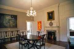 Image of the Woodburn dining room with fireplace in view